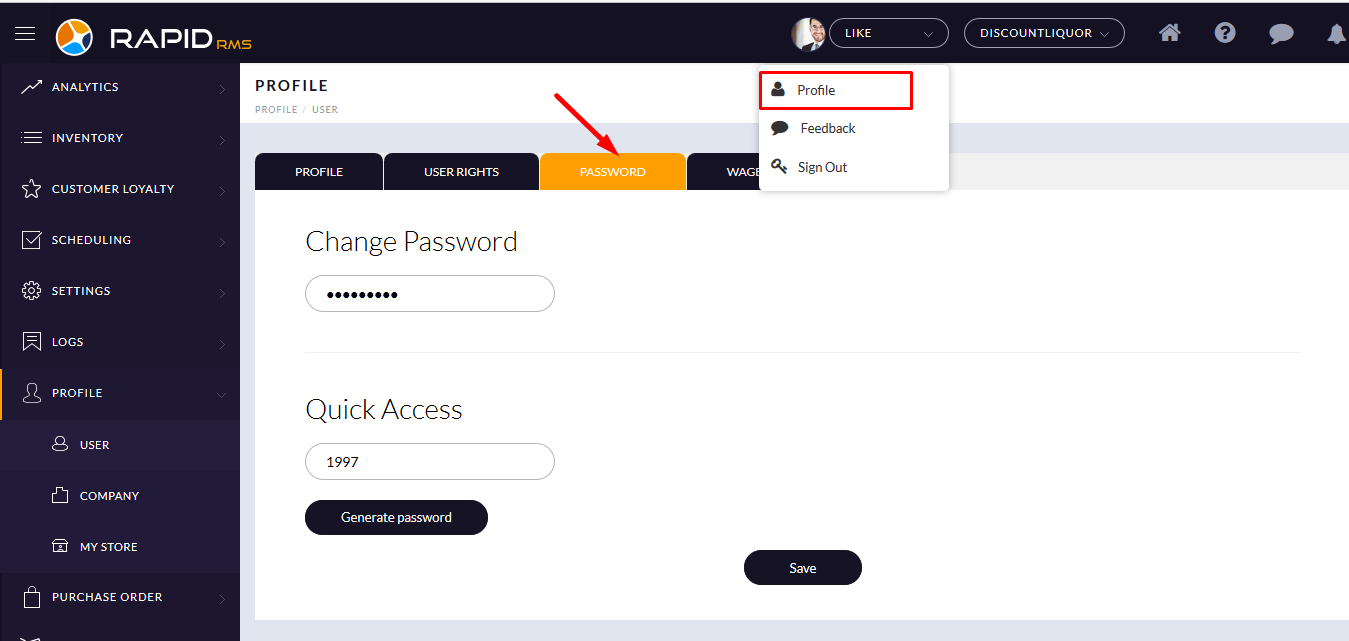 How to change password from admin-user profile